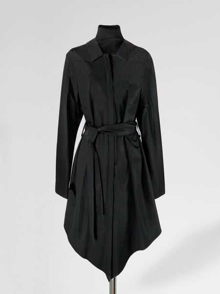 Origami Cotton Shirt Dress / Black - YOJIRO KAKE OFFICIAL