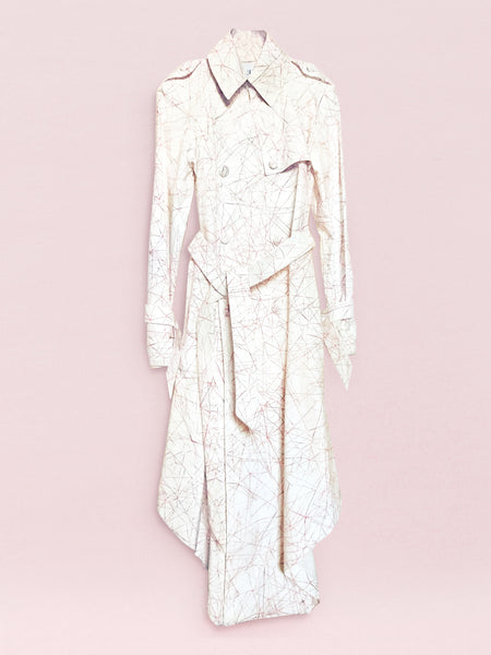 Origami Cotton Trench Coat / Print - YOJIRO KAKE OFFICIAL