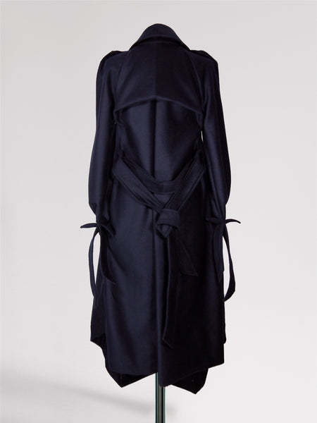 Origami Wool Trench Coat / Navy - YOJIRO KAKE OFFICIAL