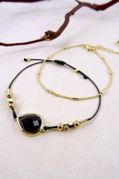 Black and Gold Chain Bracelet Set - 3 Sisters Boutique