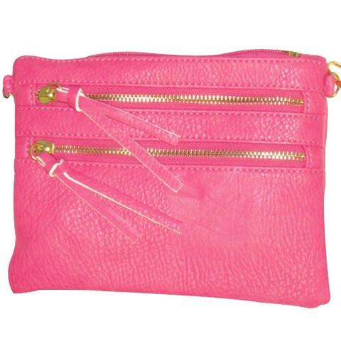 Zipper Crossbody Convertible Clutch in Hot Pink - 3 Sisters Boutique