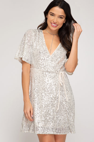 Shimmery Sequin Wrap Dress - Cream - 3 Sisters Boutique