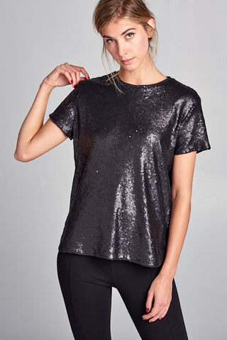 Black Sequin Top - 3 Sisters Boutique