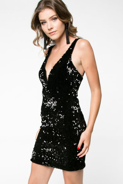 Black Sequin Bodycon - 3 Sisters Boutique