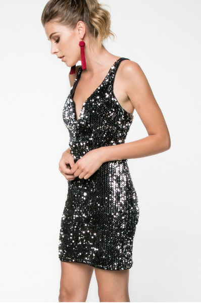 Silver Sequin Bodycon - 3 Sisters Boutique