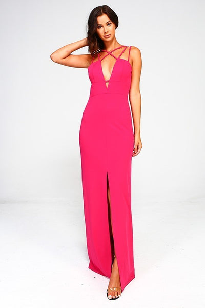 Keyhole Strappy Gown - Fuchsia - 3 Sisters Boutique