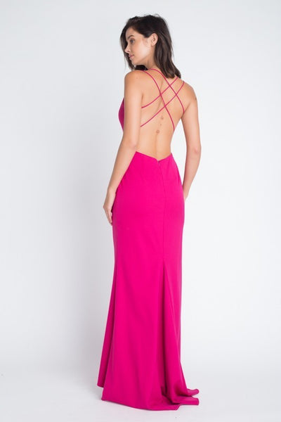 Deep V Crossback Gown - Fuchsia - 3 Sisters Boutique