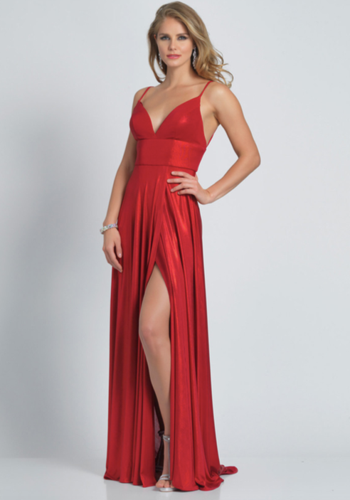 Dave and Johnny Red Metallic Gown - 3 Sisters Boutique