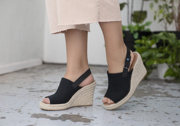 Toms Monica Wedge - Black Oxford