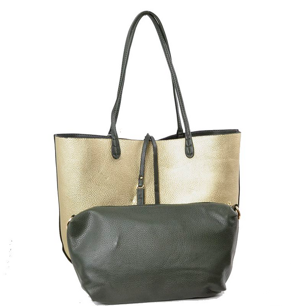 Reversible 2-in-1 Tote - Olive/Gold