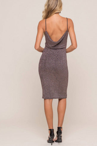 Metallic Cowl Back Midi Dress - Black/Pink