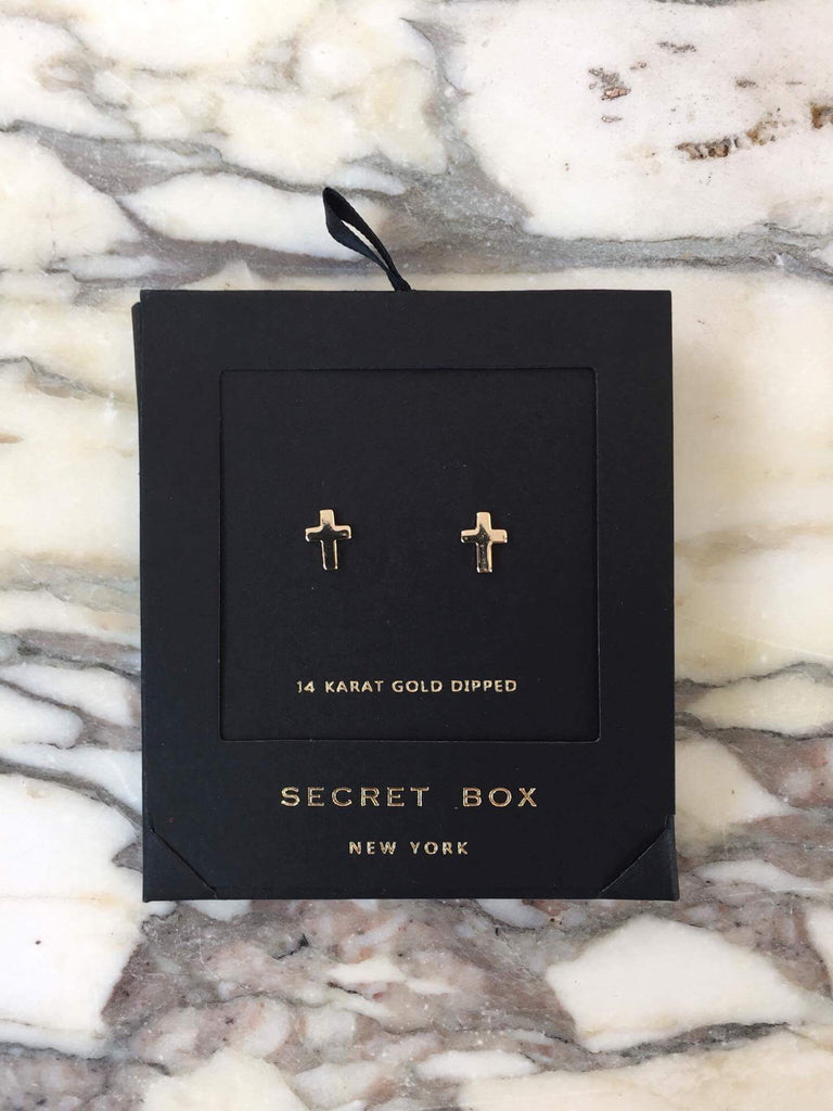 Secret Box Earrings - Cross - 3 Sisters Boutique
