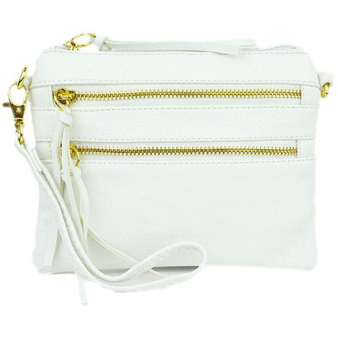 Zipper Crossbody Convertible Clutch in White - 3 Sisters Boutique
