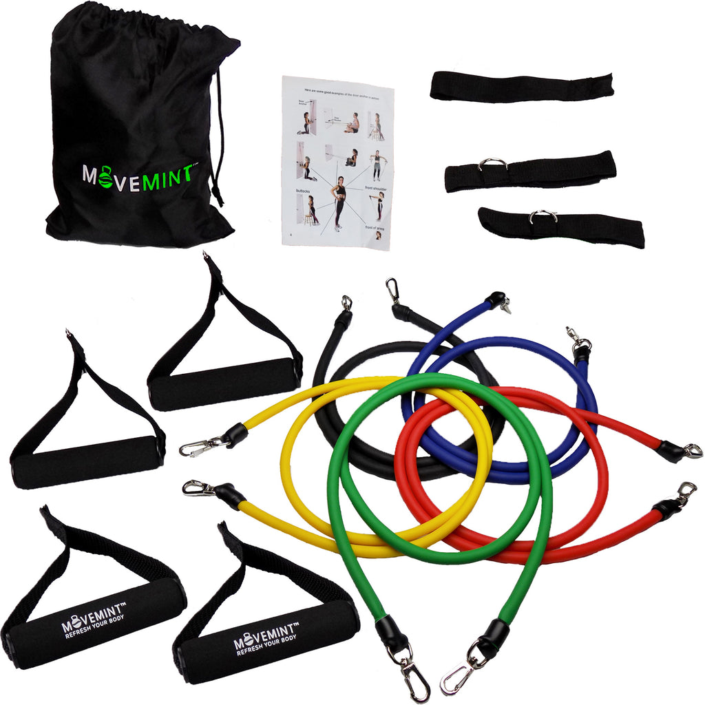 Resistance Band Set Extra Handles 14 Piece Kit 4 5 Body Gym Ankle Strap Bands Straps Bag Workout Guide