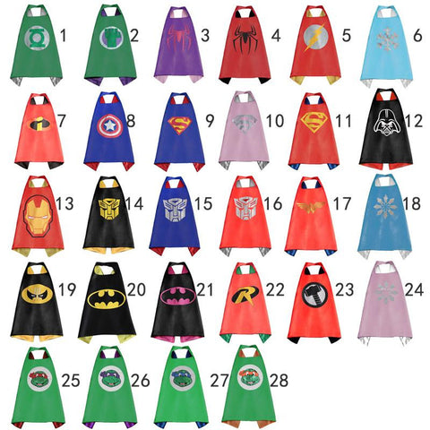 Gold Hands New Boy and girl children Superman  Batman Spiderman captain america hulk  Flash Supergirl Batgirl kids party capes