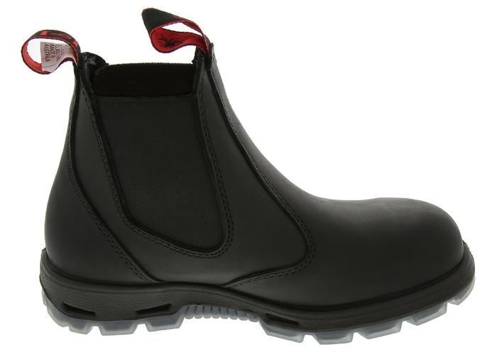 REDBACK Easy Escape 6in Slip On Steel Toe Black Angle 3