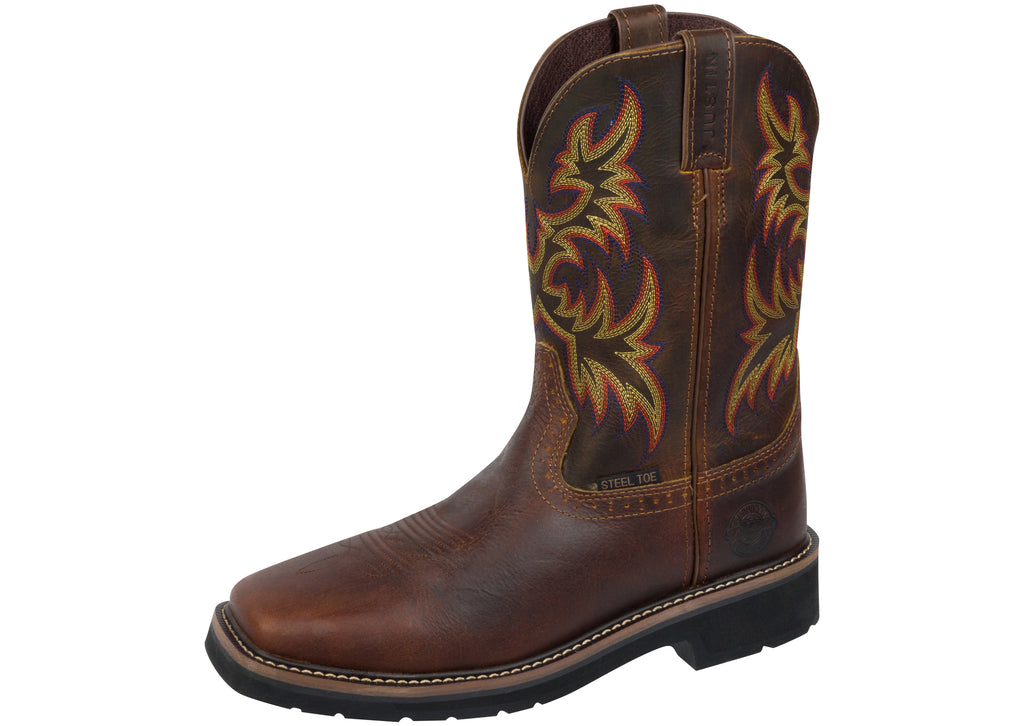 Justin Copper Kettle Rowdy Stampede Square Toe Steel Toe Rugged Tan