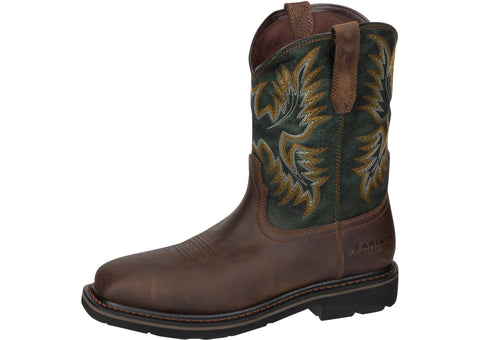 Ariat Sierra Wide Square Toe Steel Toe Dark Brown Pine Green