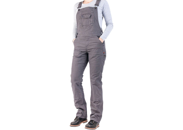 Dovetail Workwear Womens Freshley Overall Stretch Duck Canvas Dark Grey