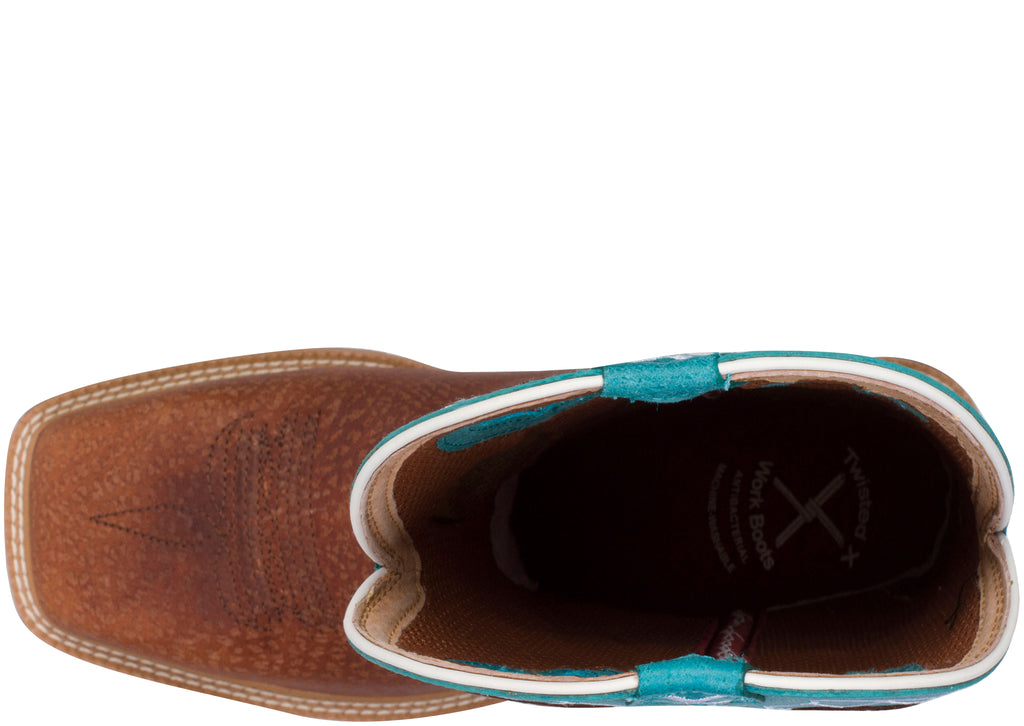 Twisted X Lite Cowboy Work Steel Toe Brown Turquoise