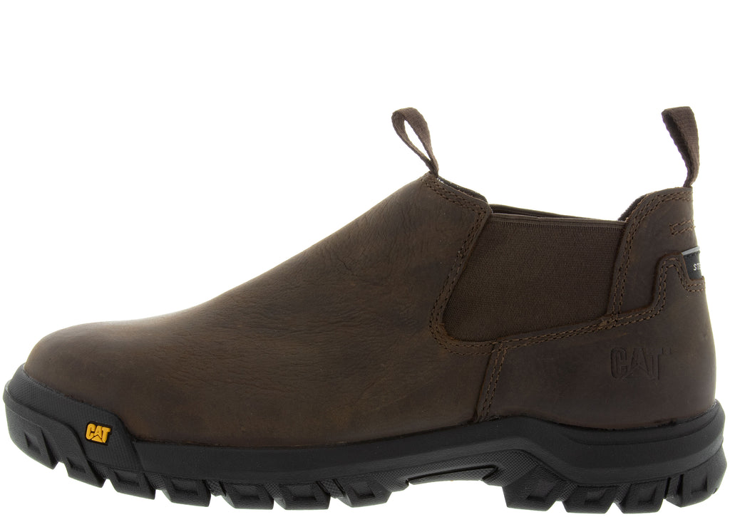 Caterpillar Outline Slip On Steel Toe Dark Brown