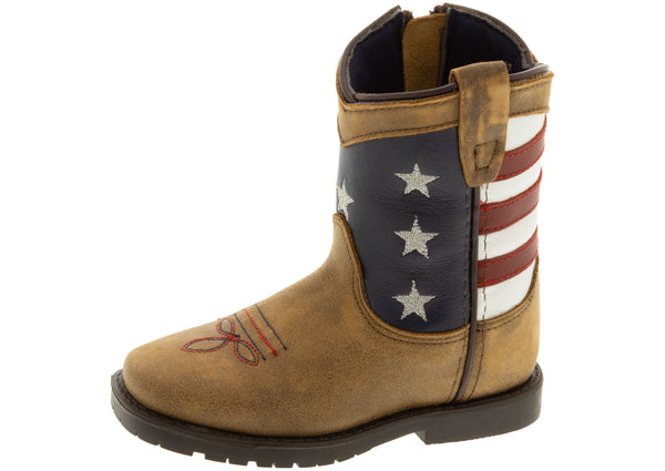 Smoky Mountain Boots Toddlers Stars and Stripes Vintage Brown