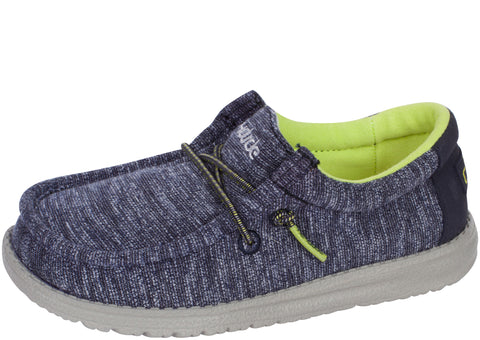 Hey Dude Kids Wally Youth Stretch Navy