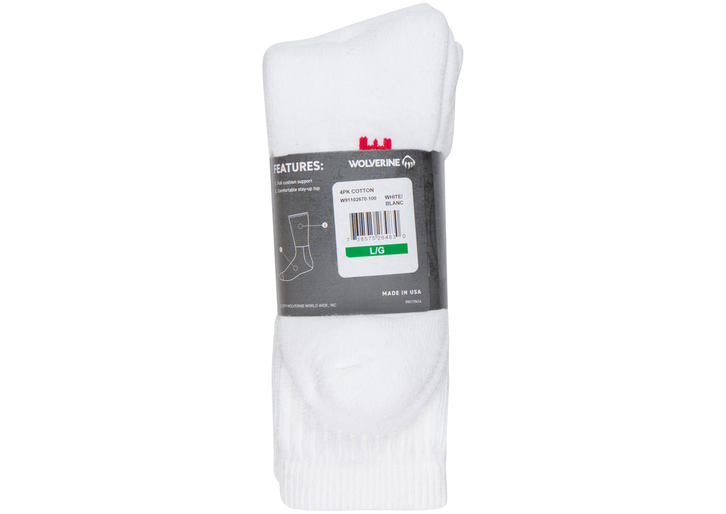 Wolverine Cotton Boot Sock 4 pack White