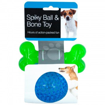 Spiky Ball & Bone Dog Toy Set