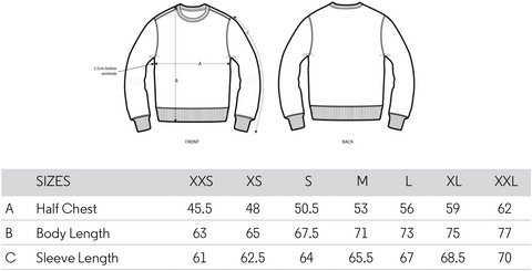 kgm collective sweatshirt sizing guide