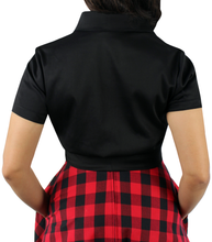 Load image into Gallery viewer, Close up of black knot top, Pictured from the back, Collar, Short sleeves