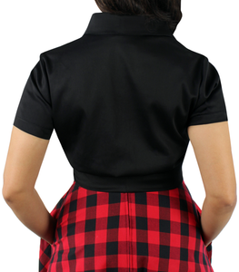 Close up of black knot top, Pictured from the back, Collar, Short sleeves