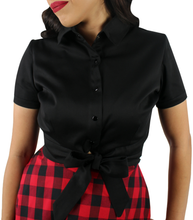 Load image into Gallery viewer, Close up of black knot top, Collar, Knot/ bow at the waist, Short sleeves