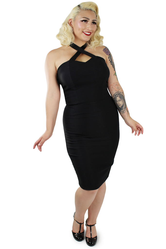 Black Criss Cross Fitted Dress XS-3XL #BCCFD