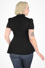 Load image into Gallery viewer, Black Peplum Top / Maternity Ribbon Belt Top XS-3XL #BBPP