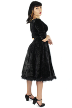 Load image into Gallery viewer, Holiday Black Velvet Circle Dress/ Morticia Addams Inspired #BVCD