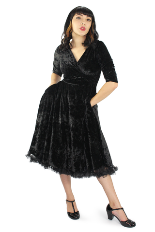 Holiday Black Velvet Circle Dress/ Morticia Addams Inspired #BVCD