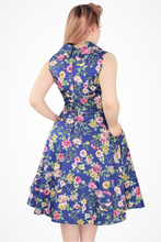 Load image into Gallery viewer, Blue Floral Dress With Pockets XS-3XL