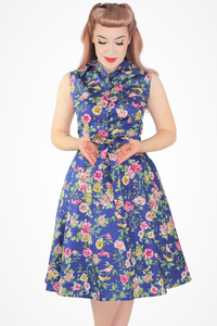 Blue Floral Dress With Pockets XS-3XL