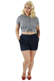 High Waisted Shorts in Indigo Blue #IHS or Black #BHS XS-3XL