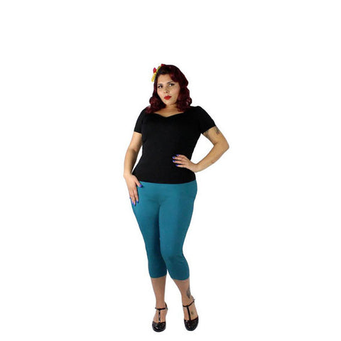 Blue Pin Up High Waist Capri Pant #CP-T515