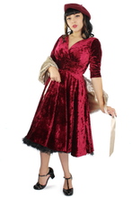 Load image into Gallery viewer, Holiday Burgundy Velvet Circle Dress #BBVCD