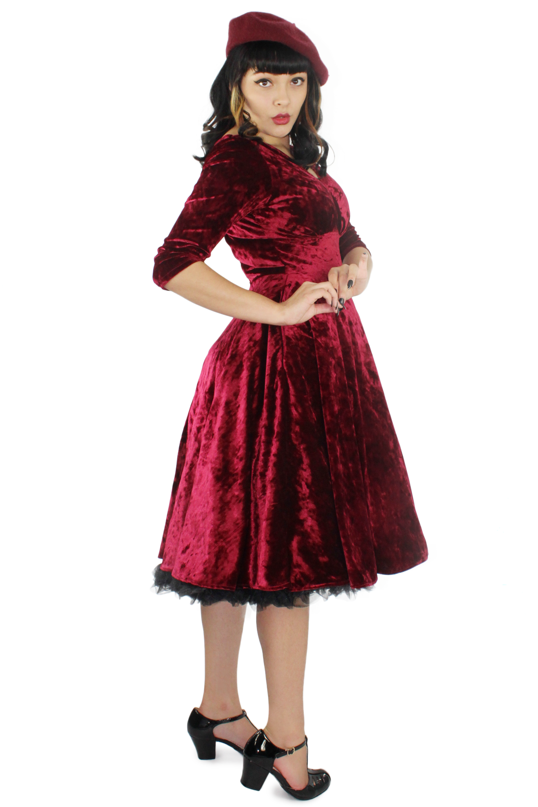 Holiday Burgundy Velvet Circle Dress #BBVCD