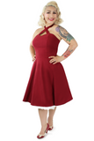 Burgundy Criss Cross Halter Dress XS-3XL #CCBD