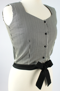 Close up of top, Top on mannequin, Pictured from the side