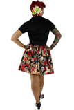 """Lindy"" Day of the Dead Inked Gals Skirt"