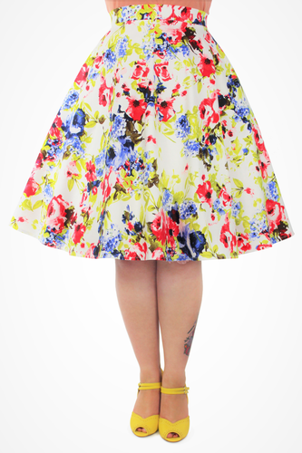 Foral Circle Skirt With Pockets XS-3XL #HFCS