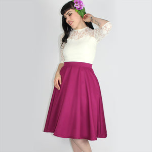 Flowy Fuchsia Circle Skirt With Pockets #FCS