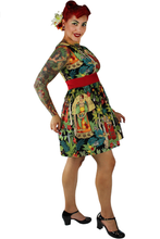 Load image into Gallery viewer, Side of model, Frida image on the side of the dress
