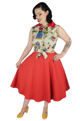 Model wearing the knot top with rustic red circle skirt, Pictured from the side